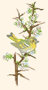 Схема Птичка на цветущей ветке