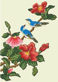 Схема Птицы на цветущих ветках 1