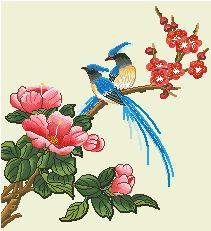 Схема Птицы на цветущих ветках 3