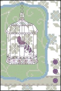 Схема вышивки птицы в клетке