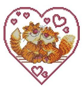 Схема Влюбленные коты в сердечке