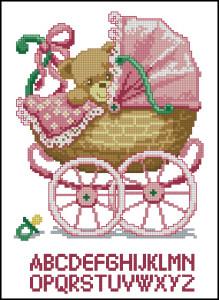 Схема Метрика для девочки, Мишка в коляске