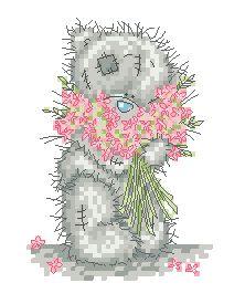 Схема Мишки Тедди. С розовым букетом