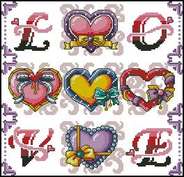 Схема Сердечки. Любовь