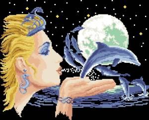 Схема Женщина с дельфинами / Mujer con delfines