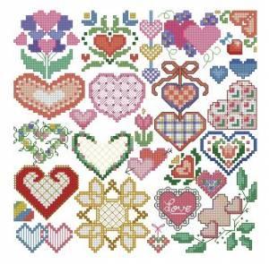 Схема Сердечки разноцветные