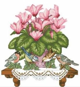 Схема Птички на цветке