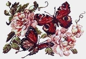 Схема Пионы и бабочки