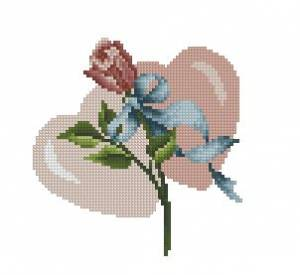 Схема Сердечки с розой