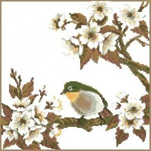 Схема Птица на цветущей ветке