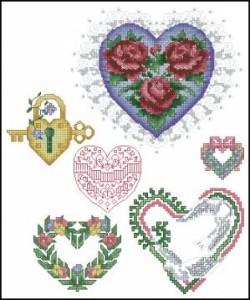 Схема Сердечки с цветами.