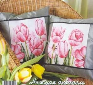 Схема Тюльпаны, подушка