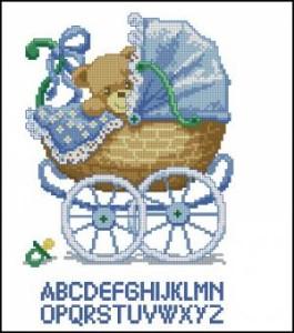 Схема Метрика для мальчика, Мишка в коляске