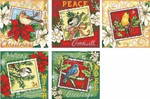 Схема Марки (открытки) с птичками