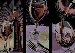 Схема Бокал с вином (триптих)