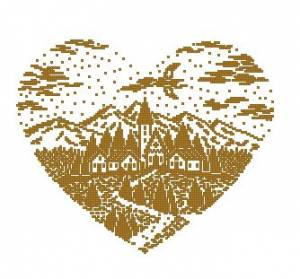 Схема Сердце с пейзажем
