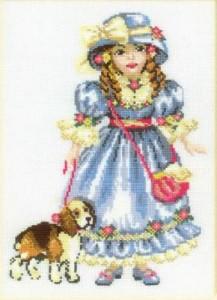 Схема Девочка в голубом платье