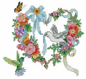 Схема Летнее сердечко из цветов