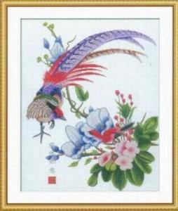 Схема Павлин и цветы