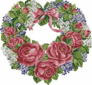 Схема Большое цветочное сердце с розами