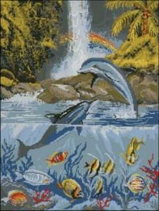 Схема Дельфины и водопад