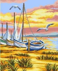 Схема Море. Лодки на берегу