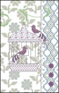 Птица в клетке схема вышивки 25