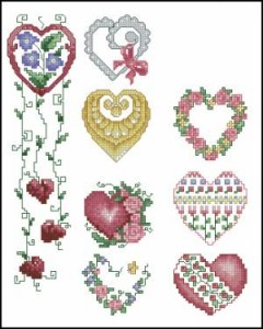 Схема Сердечки с цветами. Разнообразие