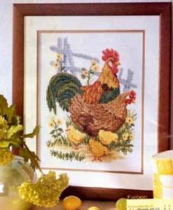 Петух и курица схема вышивки