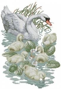 Схема Лебедь с птенцами