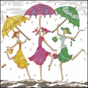 Схема Подружки под дождем