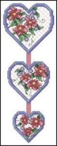 Схема Сердечки с цветами. Гирлянда