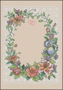 Схема Два сердца Рамка / Two hearts