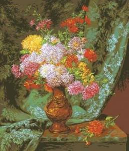 Схема Хризантемы в японской вазе