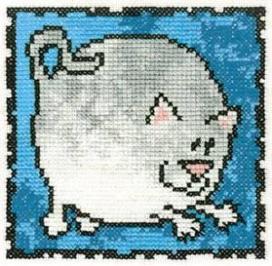 Схема Серия «Смешные животные» Кот серый