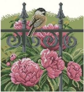 Схема Птичка в пионах