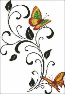 Схема Бабочки на черном узоре, элегантность