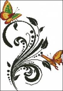 Схема Бабочки на черном узоре