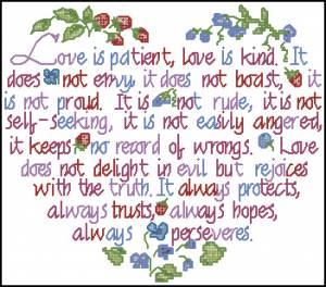 Схема Сердечки с цветами. Любовь и слова