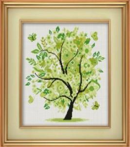 Схема Дерево зеленое с цветочками