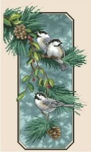Схема Синички на ветке / Chickadees on a Branch