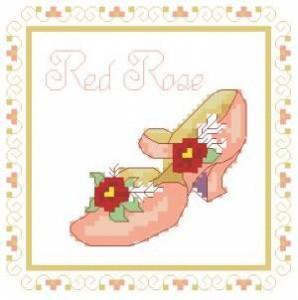 Схема Туфелька Красная роза / Shoe Red Rose