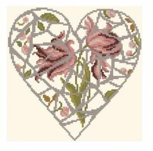 Схема Сердце с цветами (мозаика)