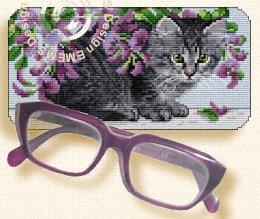Схема Очечник с серым котенком