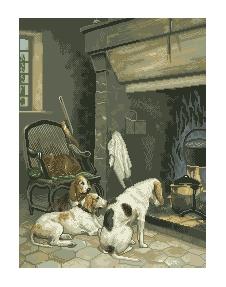 Схема у камина собака