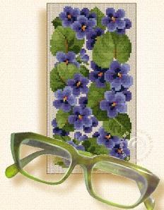 Схема Очечник с синими цветами