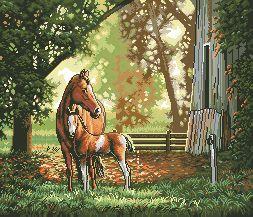 Схема Лошадь с жеребенком в парке