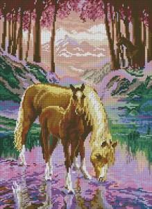 Схема Лошадь с жеребенком у воды