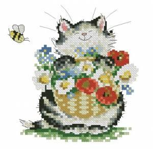 Схема Котик с цветами