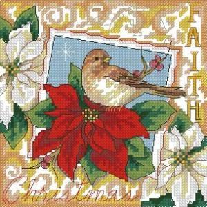 Схема Рождественская открытка, птичка